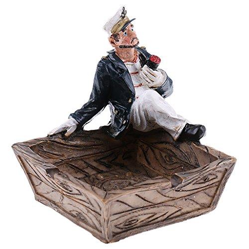 Cenicero con Figura Marinero Ornamento Decorativo Oficina Casa
