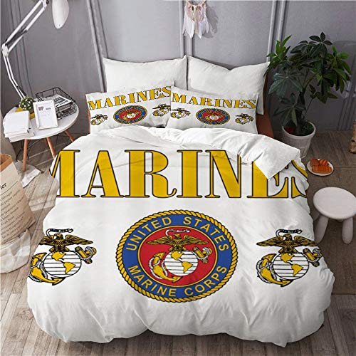 """MIFSOIAVV Duvet Cover,Marines US Marine Corps,Comfortable Bedding Sets with 1 Quilt Cover and 2 Pillowcases,Full Size 88"""" 88"""""""