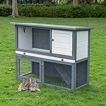 Scurrty 2 Stories Rabbit Hutch Pet Hutch Rabbit Cage Animal Hutch for Small Animals Wooden Bunny House with Run Bunny House Indoor & Outdoor