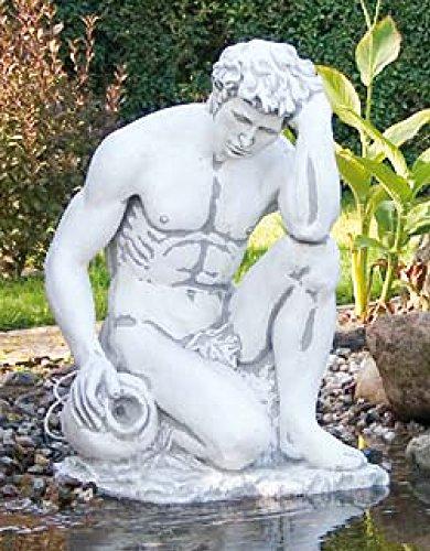 Defi Deko- und Figurenhandel Adam mit Amphore (S402) Akt Mann Wasserspiel Gartenfigur Skulptur Statue Steinguss 85cm