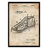 Nacnic Poster con patente de Zapatilla baloncesto 2. Lámina con diseño de patente antigua en tamaño A3 y con fondo vintage