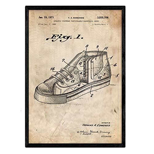 Nacnic-poster met basketbalsneaker patent 2. Film met oud design-patent op A3-formaat en vintage achtergrond