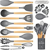 Silicone Cooking Utensils Set, 24Pcs Wooden Handles Spatula Utensil Set with Holder - Heat Resistant & Nonstick - Best Kitchen Gadgets Tools Set for Cookware(Gray)