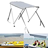Top Boat Cover Shade Canopy - Fishing Boats Sun Awning, Foldable Inflatable Kayak Top Cover with Installation Accessory Tool - Suitable for: from 43 to 63 Feet Wide Boat