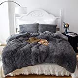 Shaggy Fluffy Duvet Cover Set King Size, Luxury Plush Warm Fuzzy Flannel Bedding Set, 3 Pieces Cozy Faux Fur Comforter Cover Set, 1 Duvet Cover + 2 Pillow Shams, Zipper Closure, Dark Gray