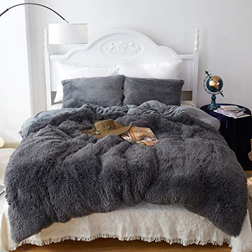 CHOSHOME Zotteliges Bettbezug-Set, Kunstfell-Daunen-Steppdecke, multifunktionale Decken, Tröster, 3-teilig (90 x 90, grau)