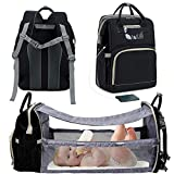 3 in 1 Travel Bassinet Foldable Baby Bed, Diaper Bag Backpack Changing Station, Waterproof...