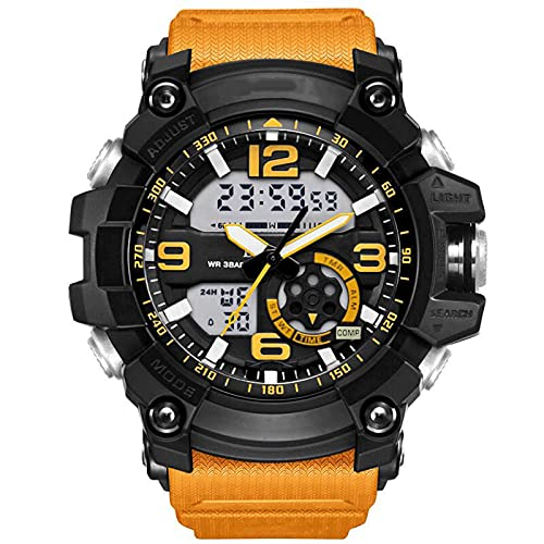 WNGJ Ver Big Dial Fashion Sports Outdoor Impermeable Luminoso Popular Hombre Reloj Electrónico, Reloj de Deportes Juveniles Yellow