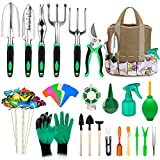 82 Pcs Garden Tools Set, Extra Succulent Tools Set, Heavy Duty Gardening Tools Aluminum with Soft Rubberized Non-Slip Handle Tools, Durable Storage Tote Bag, Gifts for Men Women