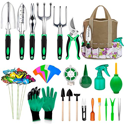 82 Pcs Garden Tools Set, Extra Succulent Tools Set, Heavy Duty Gardening Tools Aluminum with Soft Rubberized Non-Slip Handle Tools, Durable Storage Tote Bag, Gifts for Men (Green)