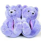 Gundai Colorful Fluffy Fur Teddy Bear Slippers for Women Pink Plush Toys Slides (/35-43/,Purple)
