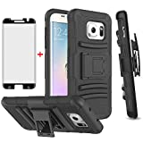 Phone Case for Samsung Galaxy S7 Edge with Tempered Glass Screen Protector Cover and Holster Belt Clip Hybrid Hard Rugged Protective Cell Accessories Glaxay S7edge S 7 Plus 7s 7edge Cases Men Black