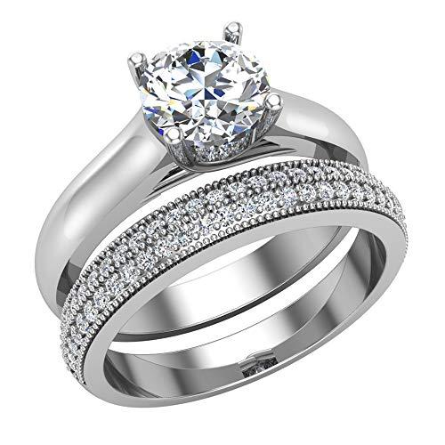 Glitz Design Mujer Niños Hombre Unisex oro 14 quilates (585) oro blanco redonda Diamond
