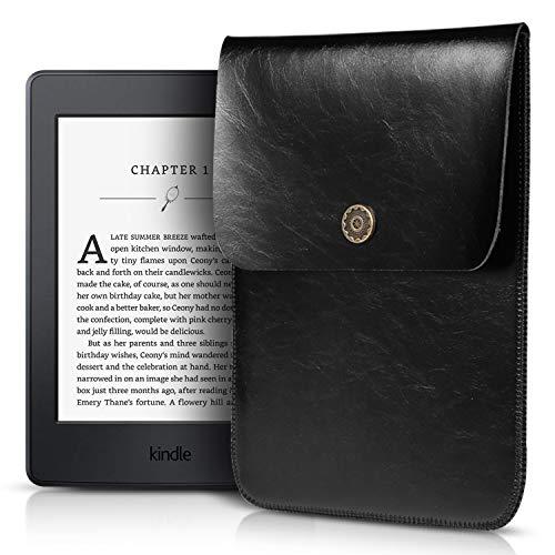 VALKVIO Kindle Paperwhite Sleeve - Kindle Oasis/Kindle Voyage Protective Felt Cover Case Pouch Bag Compatible for Amazon Kindle Paperwhite 6'/7' (Premium Leather Black)