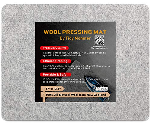 Tidy Monster 17''x13.5'' Wool Pressing Mat for Quilting, 100% Wool from New Zealand, Portable Felted Wool Ironing Mat