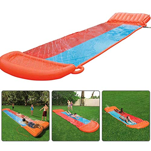 HDJSA 4.88m Tobogán acuático Kids Slip and Slide Dual Racing Lanes Summer Outdoor Garden Lawn Fun Water Sports Toy