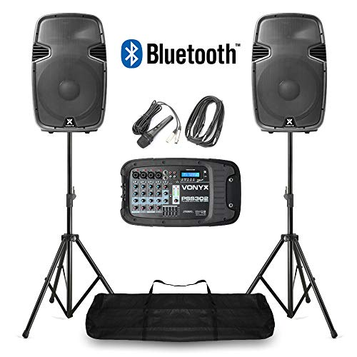 VONYX Portable PA Speaker System MP3 Bluetooth Amplifier Mixer, Mic, Stands...