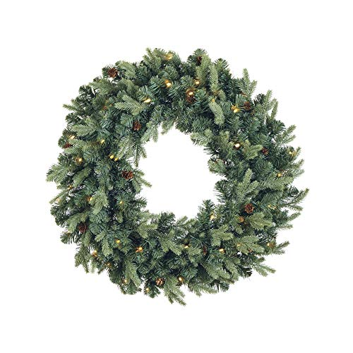 NOMA Pre-Lit Christmas Wreath for Front Door | Battery Operated Wreath with LED Lights and Mini Pinecones | 50 Warm White LED Bulbs | Indoor or Outdoor Christmas Decoration