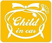 imoninn CHILD in car ステッカー 【マグネットタイプ】 No.29 お花リボン (黄色)