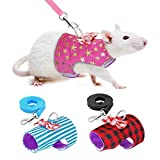 Stock Show Small Pet Outdoor Walking Harness Vest and Leash Set with Cute Bowknot Decor Chest Strap Harness for Rat Ferret Squirrel Hamster Clothes Accessory, Pink Star