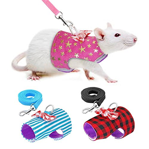 Stock Show Small Pet Outdoor Walking Harness Vest and Leash Set with Cute Bowknot Decor Chest Strap Harness for Rat Ferret Hamster Squirrel Clothes Accessory, Blue Stripe