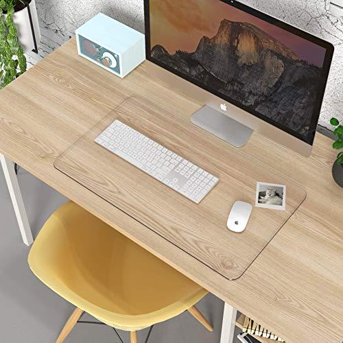 Oterri Schreibtischunterlage Transparent, 4Pcs Klare Klebepads Doppelseitig,DurchsichtigeSchreibunterlage,Rutschfest,Selbstklebend,Transparent PVC Tischdecke für Büro/Zuhause(Transparent/600*350mm)