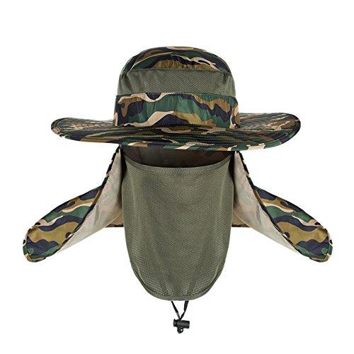 VILLAVIVI 360 Grados Sombrero de Pescador Resistente Protección Desmontable con Al Aire Libre Deportes Senderismo (Verde Camuflaje)