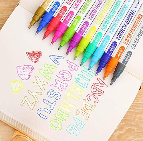 Doodle Dazzle Markers,12 Colors Outline Metallic Markers Double Line Pens, Permanent Markers Pens for Art, Drawing, Greeting Cards,Rock Painting, Kid Journal, Metal, Wood Ceramic, Glass