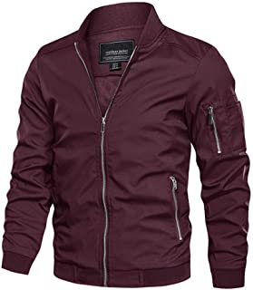 CRYSULLY Men's Spring Fall Casual Windbreakers Coat Thin Lightweight Bomber Jackets Outerwear