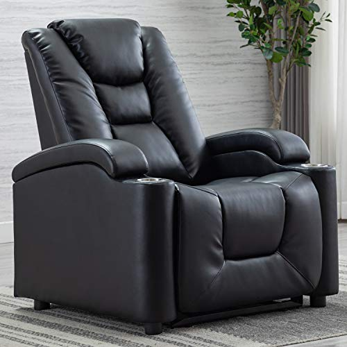 CANMOV Electric Power Recliner Chair with Cup Holders and USB Ports, Breathable Bonded Leather Adjustable Headrest Home Theater Seating, Black