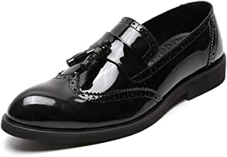 PengCheng Pang Business Oxford for Men Formal Shoes Slip on Patent Microfiber Leather Cushioning Insole Brogue Wingtip Tassels Point Toe Block Heel (Color : Black, Size : 8 UK)