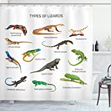 Ambesonne Reptile Shower Curtain, Lizard Family Design on Plain Background Prehistoric Camouflage Exotic Creatures, Cloth Fabric Bathroom Decor Set with Hooks, 70' Long, Multicolor