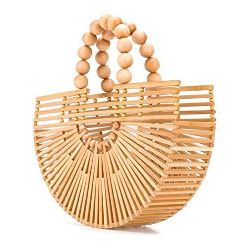 XIAOFEI Bambus Tote. Taschen Bambus Handtasche Handgefertigt Tote. Tasche Griff Handgefertigt Bambus Gewebte Tasche Oben Griff Handgefertigt Handtaschen Strand Geldbörsen,Beige,3.54