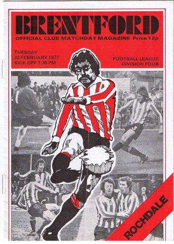 Brentford v Rochdale FC 22/02/77 (Griffin Park) football programme
