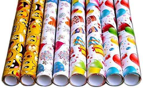 artwelten Home & Style Geburtstag Geschenkpapier Set mit Smiley und Luftballons - 8 Rollen 1 mx70cm (8 m) hochwertige Geschenk Verpackung Party oder Hochzeiten, Geburtstage und Jubiläen
