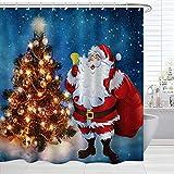 BROSHAN Duschvorhang-Set mit Weihnachtsmotiven, Weihnachtsmann auf Sternennacht, Badvorhang, Urlaubsstoff, Badezimmer-Dekor-Set mit Haken, 72 x 72 cm