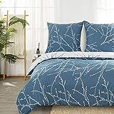 Bedsure Bettwäsche 200x200 cm blau Bettbezug Set mit Zweige Muster
