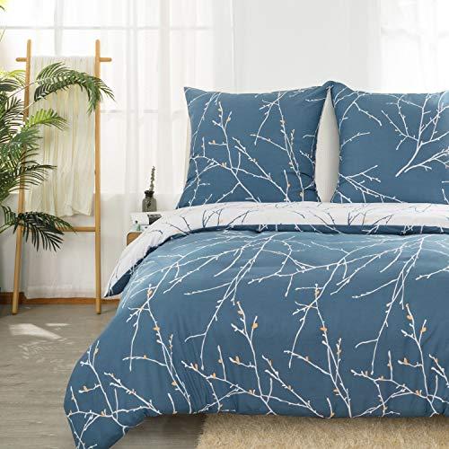 Bedsure Bettwäsche 135x200 cm blau Bettbezug Set mit Zweige Muster, 2 teilig microfaser Bettwäsche warme& atmungsaktive Bettbezüge mit Reißverschluss und 1 mal 80x80cm Kissenbezug