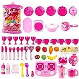 deAO Conjunto de Cocina y Utensilios de Juguete en Mochila Juego de Imitación Portátil Accesorios de Cocina Infantil (30 Piezas)