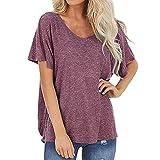DOLAA Camisetas para Mujer Tops con Espalda Abierta Camisas de Manga Corta Camisetas holgadas de Verano Casual Color sólido Cuello en V básica Blusa Camisetas Manga Corta Camiseta Casual Tops