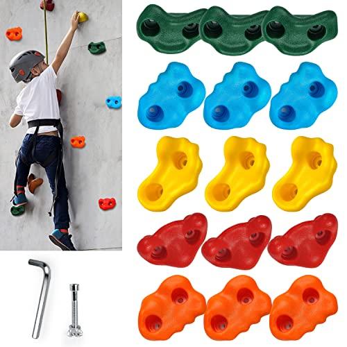 CHAIRLIN 15 pcs Klettergriffe für Kinder und Erwachsene, große Klettersteine für drinnen und draußen Spielset - Bauen Kletterwand mit 5 cm Schraubenset, belastbar bis 100 kg