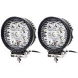 Hengda 2X faros LED 27W luces de trabajo luz de trabajo SUV Offroad IP67 2430 lúmenes con 9 LED luces de inversión del reflector ATV, UTV, offroad, tractor, camión, redondo, 6000-6500K