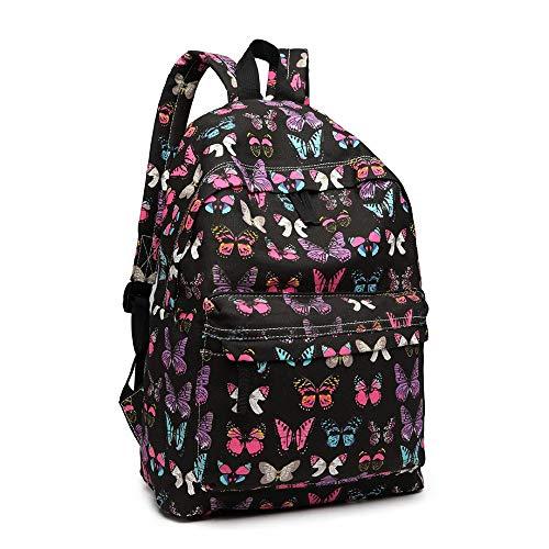 Miss Lulu Modischer Freizeitrucksack für Mädchen Jugendliche Schulrucksack Frauen Aufdruck Rucksack Schmetterling (Schwarz)