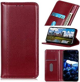 OnePlus 7Tプロケース、磁気バックル、OnePlus 7T Proのフリップスタンドケース付きPUレザーウォレットケース用 (Color : Red)