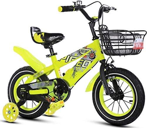 MU Fahrräder Heimtrainer Für Kinder Rennrad Für Kinder Übungs-Fahrrad Im Freien Mountainbike Dreirad Für Kinder Very Cool Bike,Gelb,14Inches