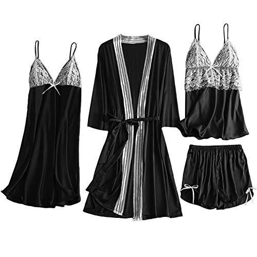 Sexy Women Pajamas 4 Pieces Sets Satin Sleepwear Silk Home Wear Embroidery Bowknot Sleep Lounge Black