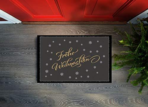 Floorcover Design Fußmatte Türmatte Weihnachten Fußabstreifer 40x60x0,5 cm rutschfest innen (Fröhliche Weihnachten)