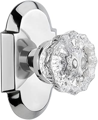 """Nostalgic Warehouse Cottage Plate with Crystal Glass Door Knob, Privacy - 2.375"""", Bright Chrome"""