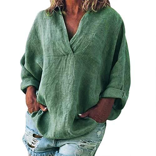 iHENGH Damen Sommer Top Bluse Bequem Lässig Mode T-Shirt Blusen Frauen Plus Size Solide Lässige Leinen V Ausschnitt Bluse T-Shirt(Grau, XL)