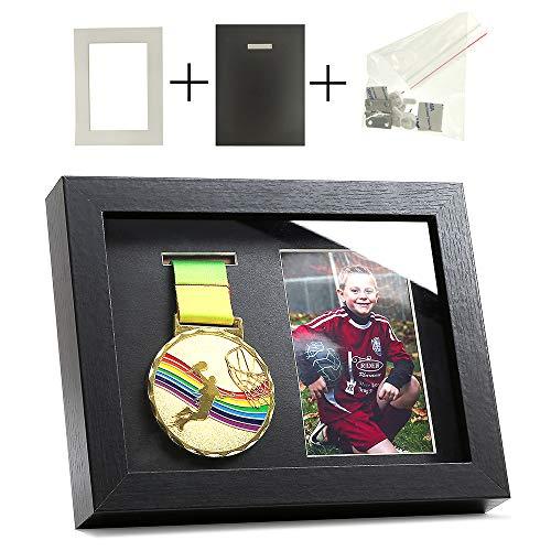 Iheipye Medal Display Shadow Box - Single Medal Display case - Perfect Medal Display for Runners, Marathon, RECE Winner,Soccer, Football, Gymnastics & All Sports (Black, 6x8)